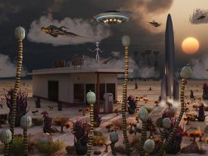 Artist's Concept of a Science Fiction Alien Landscape by Stocktrek Images