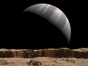 Artist's Concept of a View Towards Jupiter across the Surface of Io by Stocktrek Images