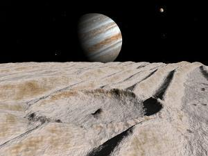 Artist's Concept of an Impact Crater on Jupiter's Moon Ganymede, with Jupiter on the Horizon by Stocktrek Images
