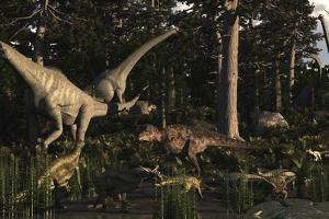 Artist's Concept of Fauna That Was Dominant in the Early Cretaceous Period by Stocktrek Images