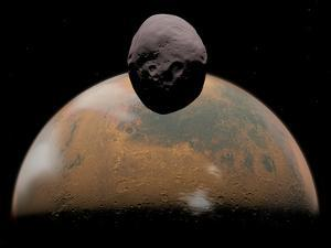 Artist's Concept of Mars and its Tiny Moon Phobos by Stocktrek Images