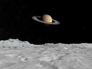 Artist's Concept of Saturn as Seen from the Surface of its Moon Iapetus by Stocktrek Images