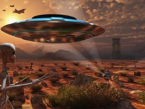 Artist's Concept of Stealth Technology Being Developed on Area 51 by Stocktrek Images