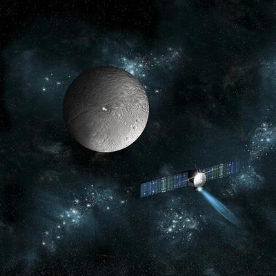 Artist's Concept of the Dawn Spacecraft as it Approaches an Encounter with Ceres
