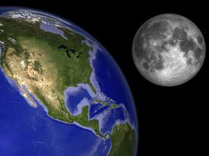 Artist's Concept of the Earth and its Moon by Stocktrek Images