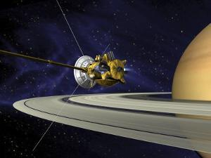 Artists Concept of Cassini During the Saturn Orbit Insertion Maneuver by Stocktrek Images