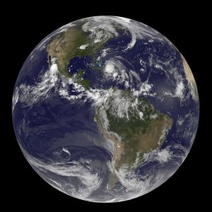 August 24, 2011 - Satellite View of the Full Earth with Hurricane Irene Visible over the Bahamas by Stocktrek Images