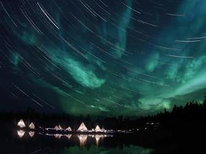 Aurora And Star Trails by Stocktrek Images