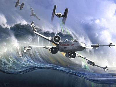 Battle on the Fictional Ocean Planet of Kamino by Stocktrek Images