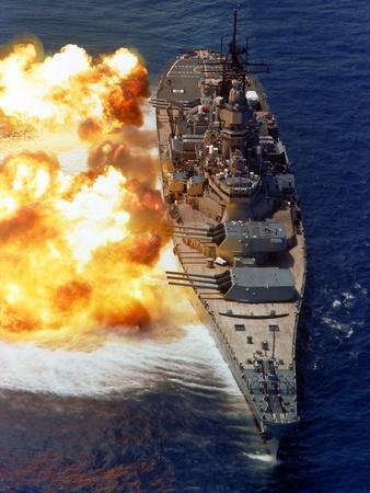 Battleship USS Iowa Firing Its Mark 7 16-inch/50-caliber Guns