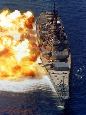 Battleship USS Iowa Firing Its Mark 7 16-inch/50-caliber Guns by Stocktrek Images