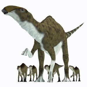 Brachylophosaurus with Offspring by Stocktrek Images
