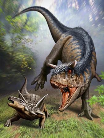 Carnotaurus Attacking an Antarctopelta Armored Dinosaur by Stocktrek Images