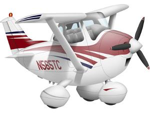 Cartoon Illustration of a Cessna 182 Aeroplane by Stocktrek Images