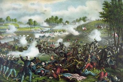 Civil War Painting of Union and Confederate Troops Fighting at the Battle of Bull Run by Stocktrek Images