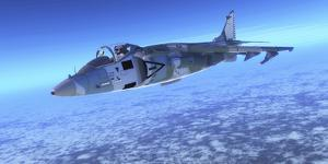 Color Illustration of an Av-8B Harrier Ii Fighter Jet by Stocktrek Images