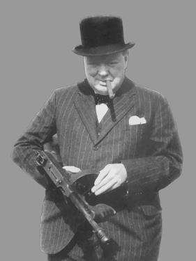 Digitally Restored Vector Photo of Sir Winston Churchill with a Tommy Gun by Stocktrek Images