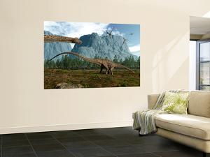 Diplodocus Dinosaurs Graze While Pterodactyls Fly Overhead by Stocktrek Images