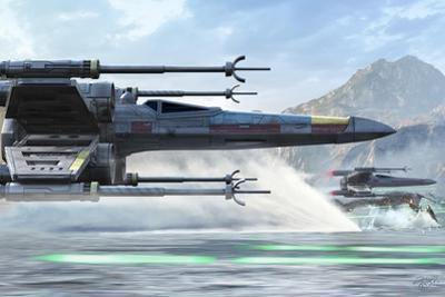 Early X-Wing Model Cruising over a Lake to Attack the Empire by Stocktrek Images