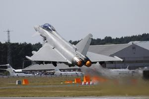 Eurofighter Ef2000 Typhoon from the Royal Air Force at Full Afterburner During Takeoff by Stocktrek Images