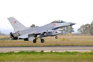 F-16A Mlu Falcon from the Royal Danish Air Force Landing at Grosseto Air Base by Stocktrek Images