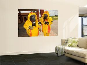 Firefighters Dressed in Hazmat Suits by Stocktrek Images