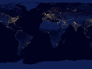 Flat Map of Earth Showing City Lights of the World at Night by Stocktrek Images