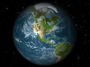 Full Earth View Showing North America by Stocktrek Images