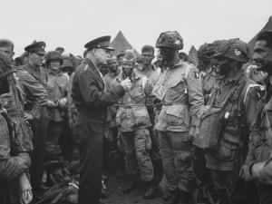 General Dwight D. Eisenhower Talking with Soldiers of the 101st Airborne Division by Stocktrek Images