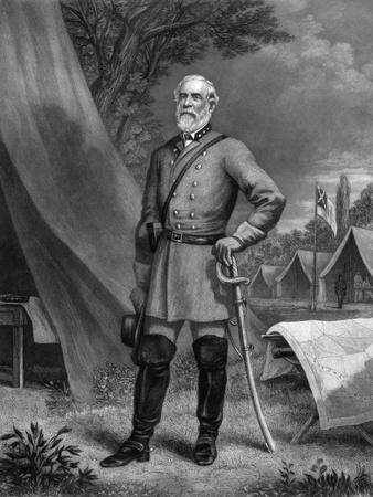 General Robert E. Lee Standing in a Confederate Army Camp