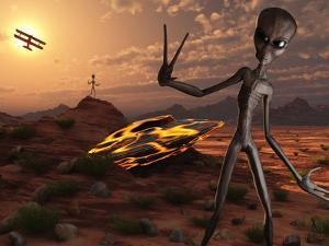 Grey Aliens at the Site of their UFO Crash by Stocktrek Images