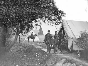 Group of American Civil War Officers at their Encampment by Stocktrek Images