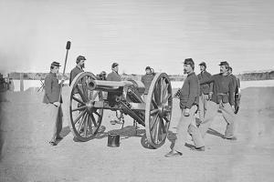 Gun Squad at Artillery Drill During American Civil War by Stocktrek Images