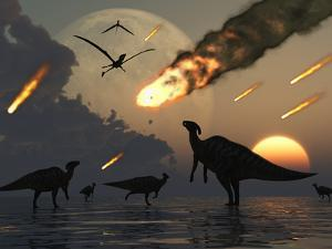 Hadrosaurs Graze Peacefully as Burning Meteors Fall Through the Sky by Stocktrek Images