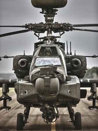 High Dynamic Range Image of An AH-64 Apache Helicopter On the Runway