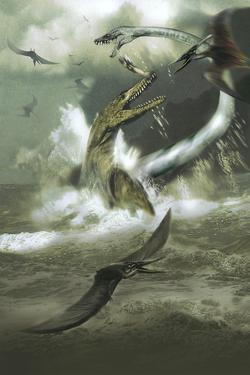 Hydrotherosaurus and Tylosaurus Dinosaurs Attacking Pteranodons by Stocktrek Images