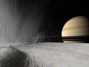 Illustration of a Geyser Erupting on the Surface of Enceladus by Stocktrek Images