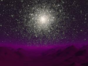 Illustration of a Globular Cluster over the Terrain of a Barren Planet by Stocktrek Images