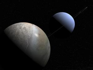 Illustration of the Gas Giant Planet Neptune and its Largest Moon Triton by Stocktrek Images