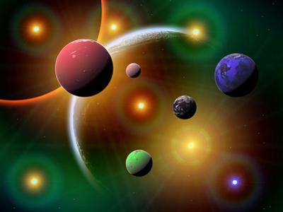 Illustration of the Variations of Stars and Planets in the Milky Way Galaxy by Stocktrek Images