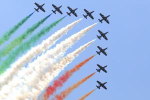 Italian Air Force Aerobatic Team Frecce Tricolori Performing at Izmir Air Show by Stocktrek Images