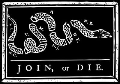 Join or Die Political Cartoon by Benjamin Franklin by Stocktrek Images