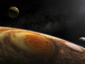 Jupiter's Moons Io and Europa Hover over the Great Red Spot on Jupiter by Stocktrek Images