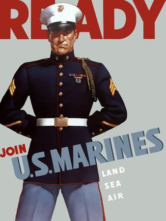 Marine Corps Recruiting Poster from World War II by Stocktrek Images