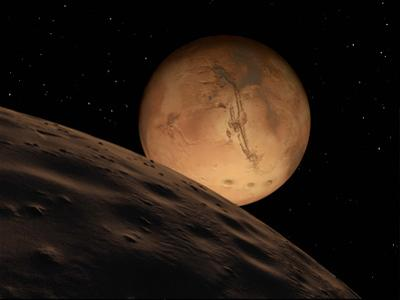 Mars Seen from its Outer Moon, Deimos