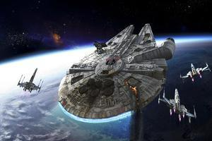 Millenium Falcon Being Escorted by X-Wings by Stocktrek Images