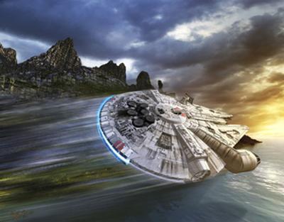 Millenium Falcon in Search of Luke Skywalker Near a Remote Island by Stocktrek Images