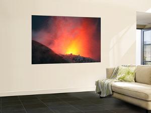Nighttime Eruption of Santiaguito Dome Complex, Santa Maria Volcano, Guatemala by Stocktrek Images
