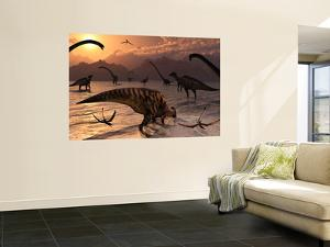 Omeisaurus and Parasaurolphus Dinosaurs Gather Together by Stocktrek Images