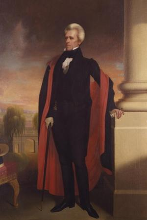 Painting of President Andrew Jackson Standing by Stocktrek Images
